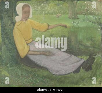 Woman of Huizen Sitting Under a Tree, by Richard Roland Holst, c. 1888-95, Dutch painting, oil on canvas. She wears - Stock Photo