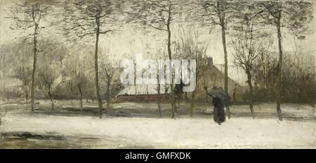 Winter landscape, by Willem Maris, c. 1875, Dutch painting, oil on canvas. Impressionistic landscape with woman - Stock Photo