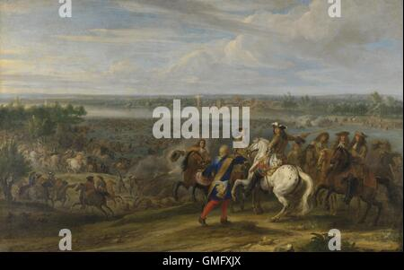 Louis XIV Crossing into the Netherlands at Lobith, by Adam Frans van der Meulen, c. 1672-90. The French invaded - Stock Photo