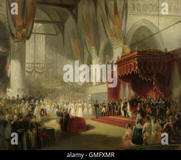 The Inauguration of King William II in the Nieuwe Kerk (New Church) in Amsterdam on Nov. 28, 1840, Nicolaas Pieneman,1840 - Stock Photo