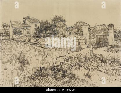 Farm in Provence, by Vincent van Gogh, c. 1888, Dutch drawing, pencil, pen and ink on paper. Drawn with van Gogh's - Stock Photo