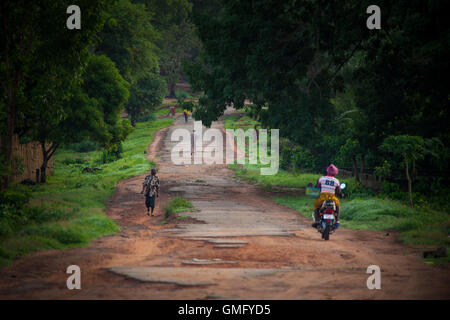 Yongoro, Sierra Leone - June 10, 2013: West Africa, the main road of Yongoro, village in front of Freetown - Stock Photo