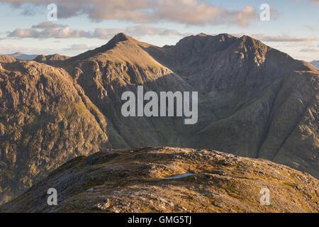 View of Bidean nam Bian from Sgorr nam Fiannaidh, Glen Coe, Scottish Highlands, Scotland - Stock Photo