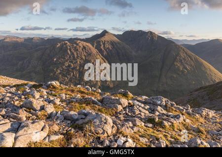Bidean nam Bian from Sgorr nam Fiannaidh, Glen Coe, Scottish Highlands, Scotland - Stock Photo