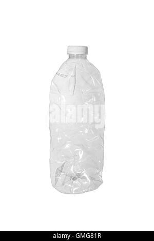 Crumpled plastic bottle isolated on white background