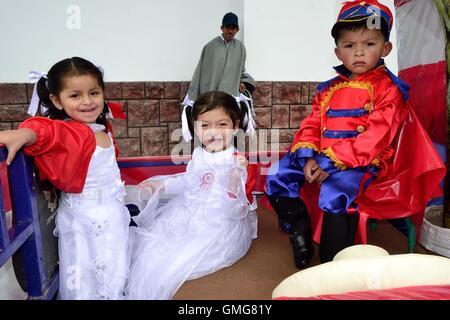 Parade - Fiestas de la Virgen del Carmen and Fiestas Patrias ( Independence Day ) in Sapalache ' Las Huaringas ' - Stock Photo