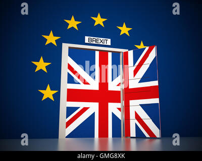 European Union map around open door leading to British flag. 3D illustration. - Stock Photo