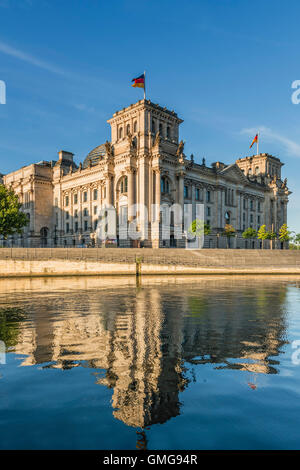 Reichstag and government buildings around river Spree in Berlin - Stock Photo