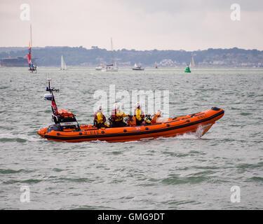 An RNLI RIB patroling the beach in Southsea, England - Stock Photo