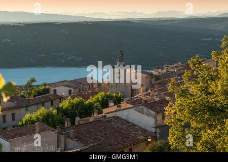 Village of Aiguines, Lac de Sainte Croix, Provence, France - Stock Photo