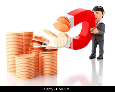 3d renderer image. Businessman with a magnet attracting money. Business concept. Isolated white background. - Stock Photo