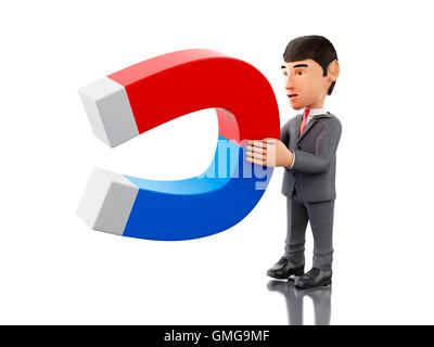 3d renderer image. Businessman with a magnet. Business concept. Isolated white background. - Stock Photo