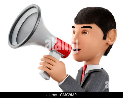 3d renderer image. Businessman with a megaphone. Business concept. Isolated white background. - Stock Photo