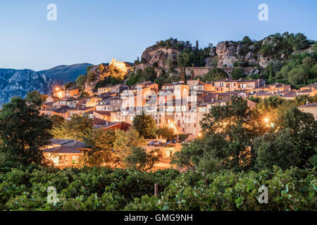 Village of Aiguines, Lac de Sainte Croix, Provence, France - Stock Photo