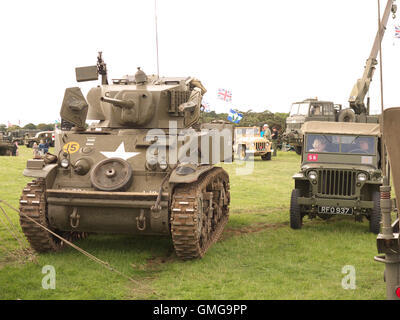 World war two vintage military vehicles on display at Rauceby war weekend - Stock Photo