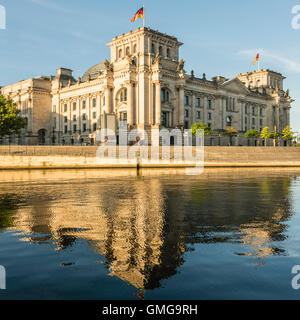 Reichstag and government buildings around river Spree in Berlin , - Stock Photo