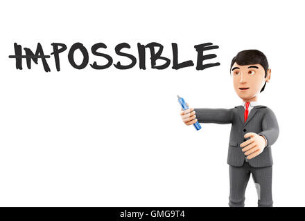3d Illustration. Businessman with marker and word impossible turning into possible. Business concept. Isolated white - Stock Photo