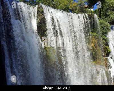 Travel to Europa under summer.Waterfall in the Jajce,Bosnia and Herzegovina - Stock Photo