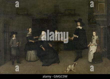 Family Scene, attributed to Caspar Netscher, 1649-84, Dutch painting, oil on panel. The father and mother, with - Stock Photo