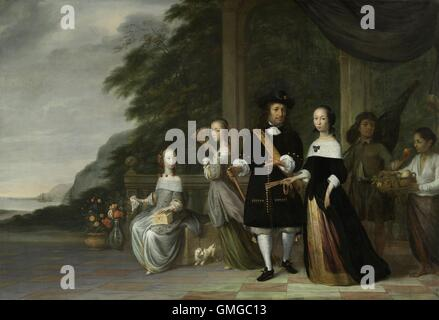 Pieter Cnoll, Cornelia van Nijenrode, and their Daughters, by Jacob Coeman, 1665, Dutch painting, oil on canvas. - Stock Photo