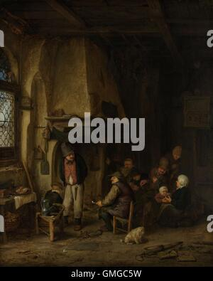 Peasants in an Interior, by Adriaen van Ostade, 1661, Dutch painting, oil on copper. Near a fireplace, three men - Stock Photo
