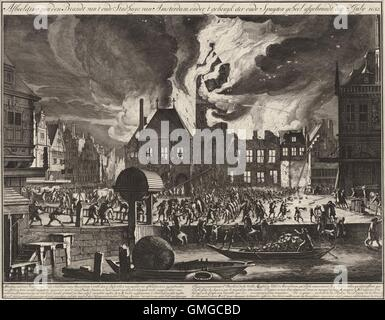 The Fire in the Old Town Hall in Amsterdam, 1652, by Jan van der Heyden, 1688-90, Dutch print. Engraving and etching - Stock Photo