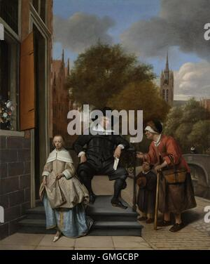 The Burgomaster of Delft and his Daughter, by Jan Steen, 1655, Dutch painting, oil on canvas. Recently the painting - Stock Photo