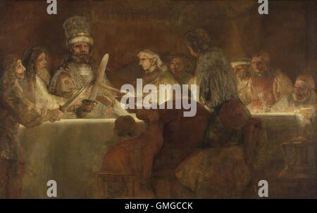 The Conspiracy of the Batavians under Claudius Civilis, by Rembrandt, 1661-62, Dutch oil painting. The Batavi were - Stock Photo