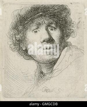 Self-Portrait with Beret, by Rembrandt van Rijn, 1630, Dutch print, etching on paper. Rembrandt was 24 when he created - Stock Photo