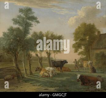 Cows in a Meadow near a Farm, by Paulus Potter, 1653, Dutch painting, oil on canvas. The long shadows indicate a - Stock Photo