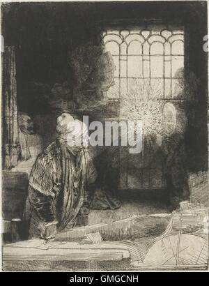 A Scholar in his Study, by Rembrandt van Rijn, 1650-54, Dutch print, etching on an apparition of a disc of light - Stock Photo
