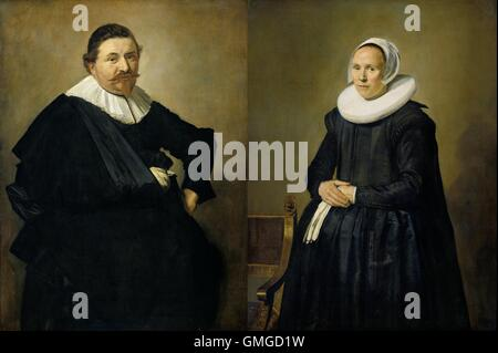 Marriage portraits of Lucas de Clercq, and Feyntje van Steenkiste, by Frans Hals, 1635, Dutch painting, oil on canvas. - Stock Photo