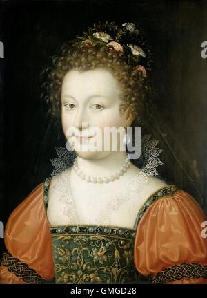 Portrait of a Woman, by Anonymous, 1550-74, Netherlandish painting, oil on panel. Young woman with flowers in her - Stock Photo