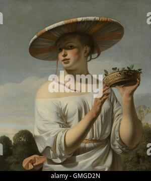 Girl in a Large Hat, by Caesar Boetius van Everdingen, c. 1645-50, Dutch painting, oil on canvas. She wears an exotic, - Stock Photo