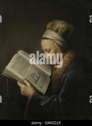 Old Woman Reading, by Gerard Dou, 1631-32, Dutch painting, oil on panel. She is reading the beginning of chapter - Stock Photo
