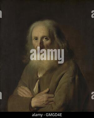 Portrait of an Old Man, by Simon Kick, 1639, Dutch painting, oil on panel. Elderly old man with a white beard and - Stock Photo