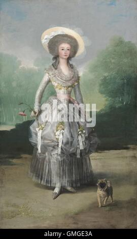 The Marquesa de Pontejos, by Francisco de Goya, c. 1786, Spanish painting, oil on canvas. She is dressed in the - Stock Photo