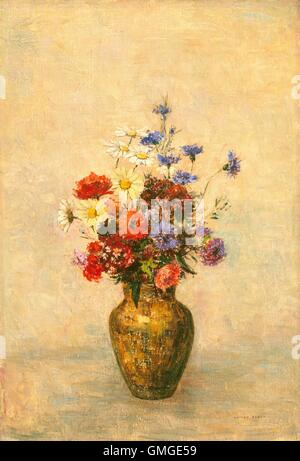 Flowers in a Vase, by Odilon Redon, 1910, French painting, oil on canvas. This bouquet of flowers includes poppies, - Stock Photo