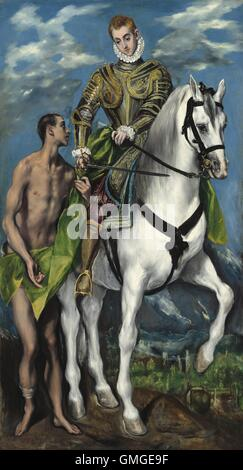 Saint Martin and the Beggar, by El Greco, 1597-99, Spanish Renaissance painting, oil on canvas. Martin of Tours, - Stock Photo