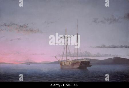 Lumber Schooners at Evening on Penobscot Bay, by Fitz Henry Lane, 1863, American oil painting. Lane created marine - Stock Photo