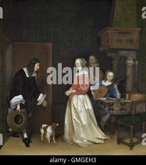 The Suitor's Visit, by Gerard ter Borch, the Younger, 1658, Dutch painting, oil on canvas. A man bows gracefully - Stock Photo