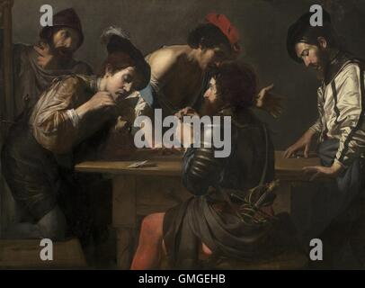 Soldiers Playing Cards and Dice (The Cheats), by Valentin de Boulogne, 1618-20, French painting, oil on canvas. - Stock Photo