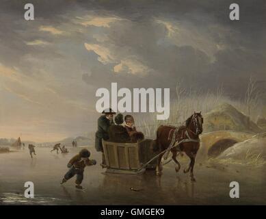 Winter Scene (Horse-Sleigh on the Ice), Andries Vermeulen, 1790-1814, Dutch painting, oil on panel. Winter landscape - Stock Photo