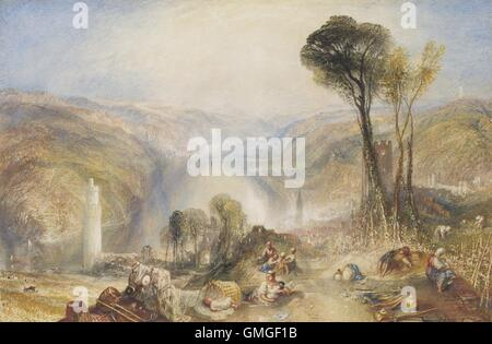 Oberwesel, by Joseph Mallord William Turner, 1840, British painting, watercolor and gouache over graphite. View - Stock Photo