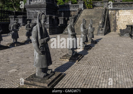 Statues in Imperial Khai Dinh Tomb in Hue, Vietnam - Stock Photo