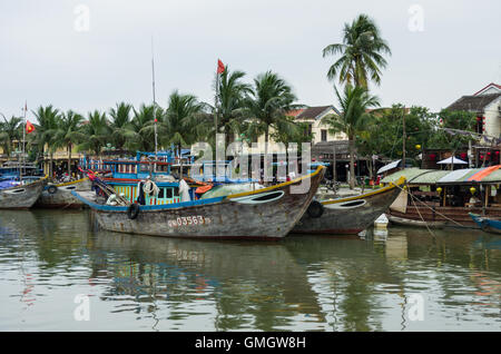 HOI AN, VIETNAM - January  7, 2015: Traditional boats in Hoi An. Hoi An is the World's Cultural heritage site, famous - Stock Photo