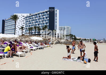 The Hard Rock Hotel at Platja D'en Bossa on the Spanish island of Ibiza. Viewed here from the beach. - Stock Photo