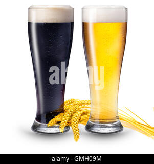 2 glasses of beer - Stock Photo