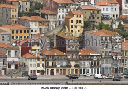 Traditional Old Town houses in Porto Portugal Europe - Stock Photo