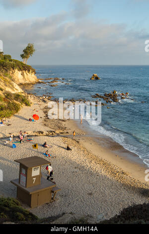 little Corona del Mar beach with lifeguard tower in the affluent city of Newport Beach, California